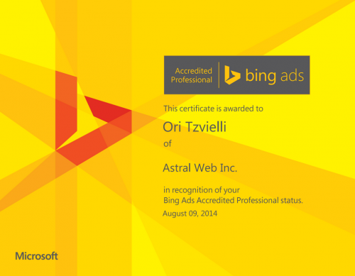 Astral Web通過Bing Ads資格鑑定專業人士認證。