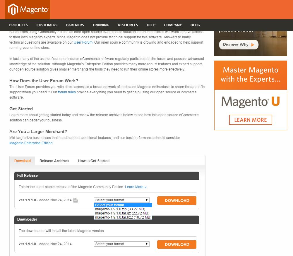 下載Magento安裝包