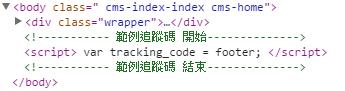 範例追蹤碼出現在Body的尾端