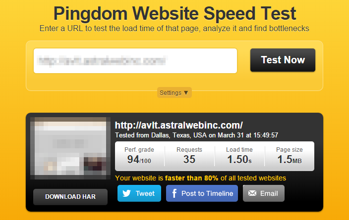 Pingdom Website Speed Test整合後