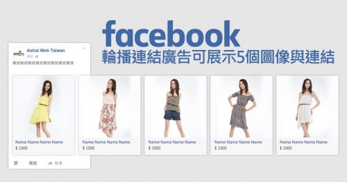 Facebook輪播連結廣告可展示5個圖像與連結