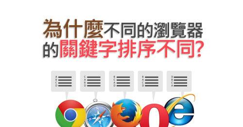 為什麼不同的瀏覽器的關鍵字排序不同?