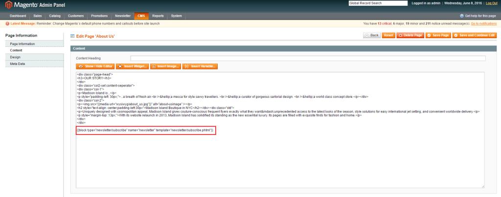 步驟一-Magento CMS Page 與 CMS Block 中的內容無法正常顯示