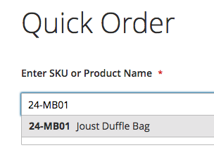 Enter SKU or Product Name