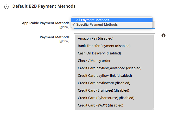 Default B2B Payment Methods